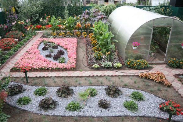 Яркий сад с теплицей, фото