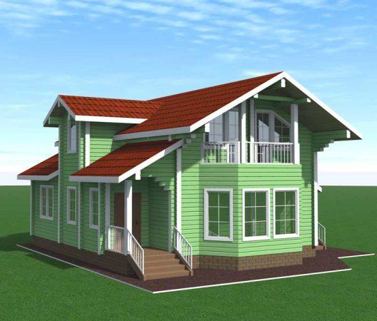 Проект современного загородного дома с мезонином
