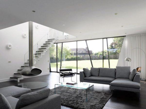 Сочетание белого и серого в минималистичном дизайне интерьера