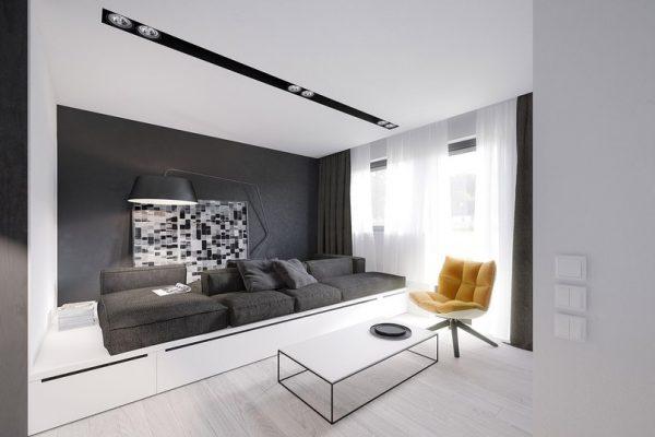 Сочетание серого и белого цветов в дизайне гостиной