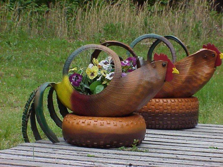 Творческие идеи: автомобильные покрышки в оформлении сада