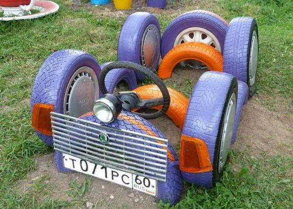 Транспорт из старых покрышек
