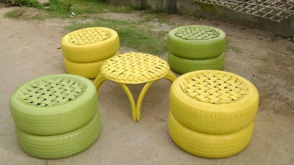 садовая мебель из покрышек