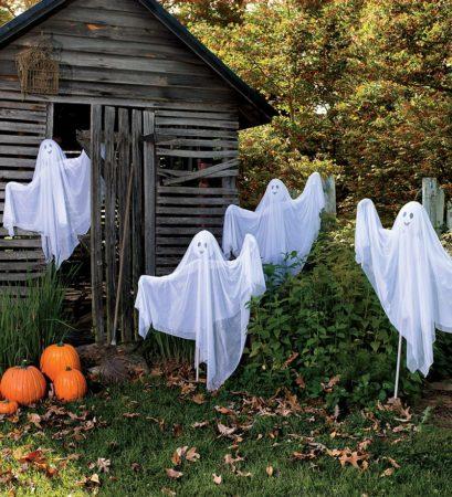 декоративные призраки на хэллоуин