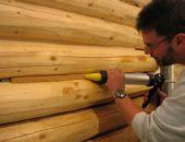 Нанесение герметика для древесины