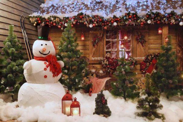 Новогодние декорации во дворе