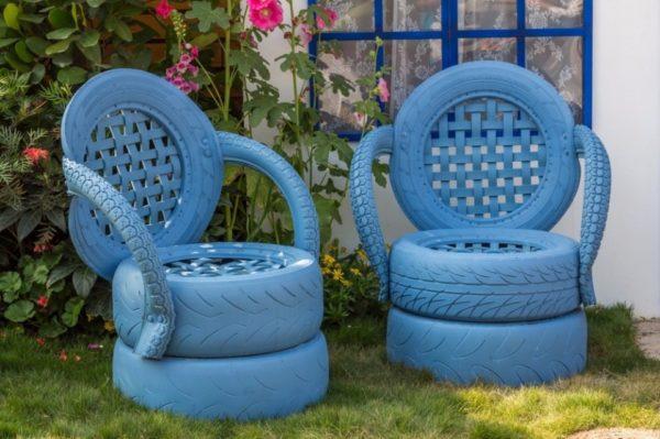 Садовые кресла из автомобильных покрышек