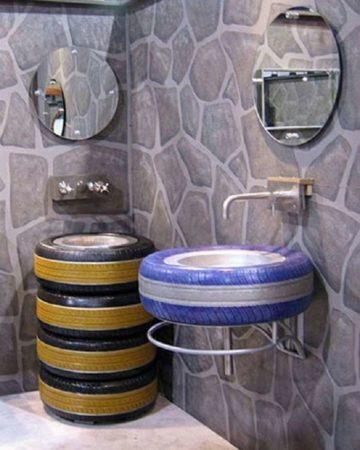 Мебель для ванной комнаты из покрышек