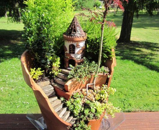 садовая композиция из разбитого горшка
