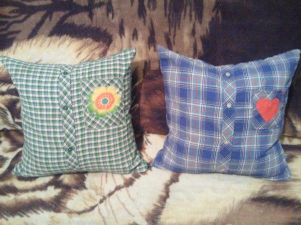 подушки из старых рубашек