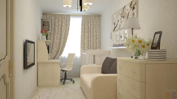 Узка комната со светлыми обоями