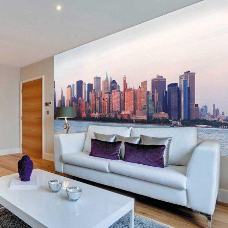 Фотообои с панорамой города в комнате