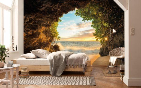 Фотообои с перспективой на стене в комнате