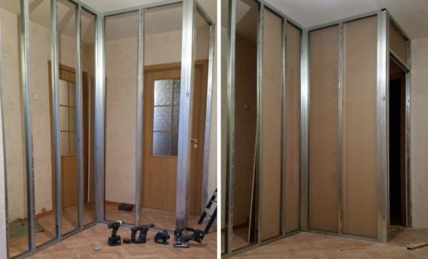Изолирование проходной комнаты при помощи стенки из гипсокартона