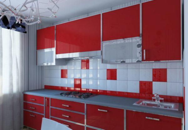 Кухня в красно-белых цветах