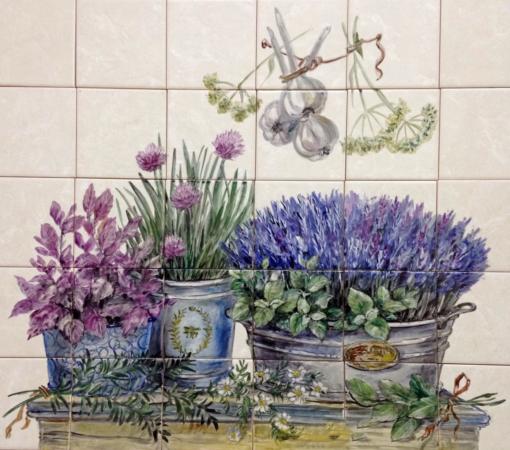 Рисунок на плитке в кухне