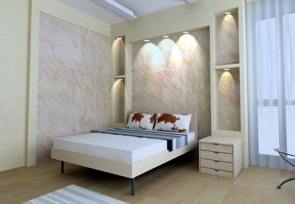 Стена у кровати, отделанная гипсокартоном