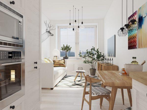 Комната и кухня в светлых тонах