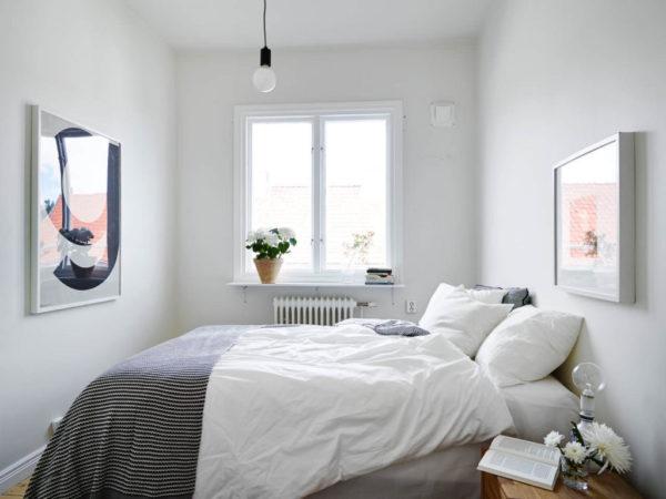 Светло-серая спальня