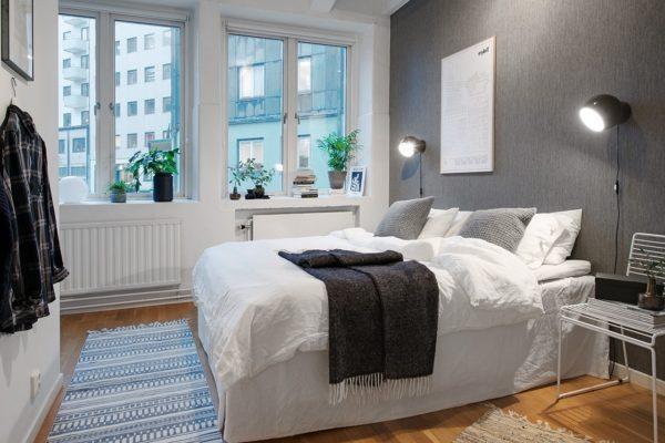 Бело-серая спальня