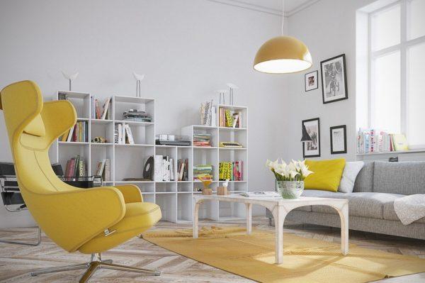 Комната с жёлтыми акцентами