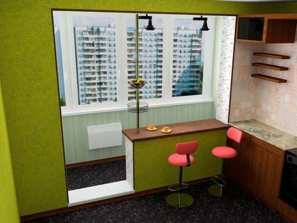 Балкон совмещённый с комнатой