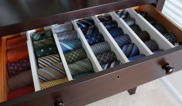 Хранение галстуков в органайзере