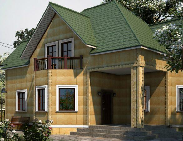 Дом с зелёной крышей на участке