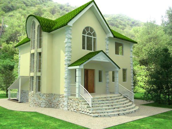 Дизайн дома с зелёной крышей