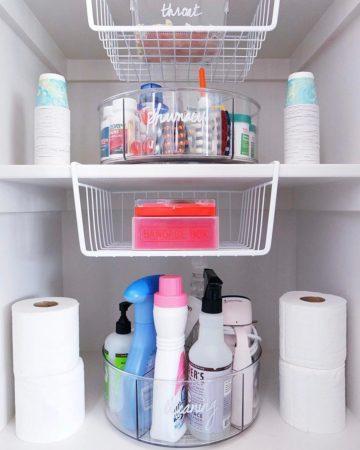хранение бытовой химии в ванной