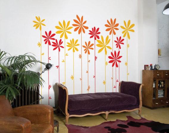 Цветы на стене из самоклеящейся бумаги