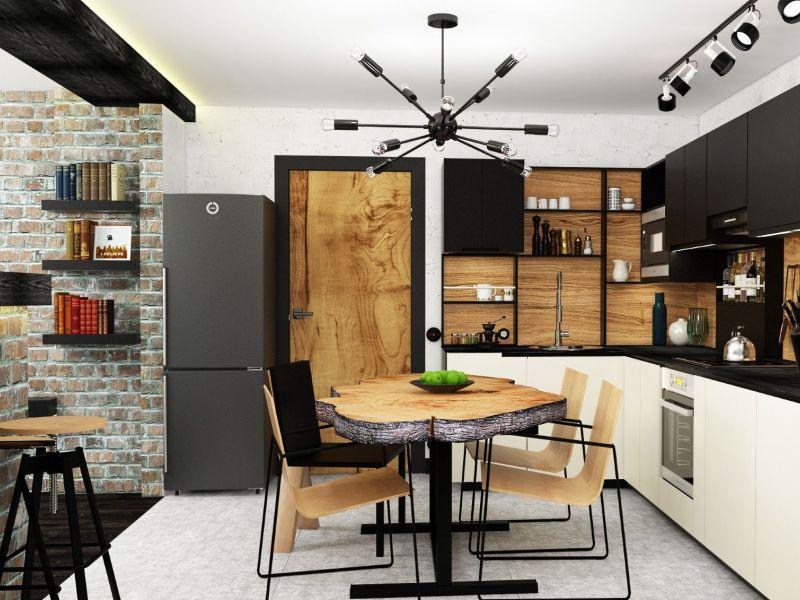 Стиль лофт на кухне площадью 10 кв. м: примеры на фото