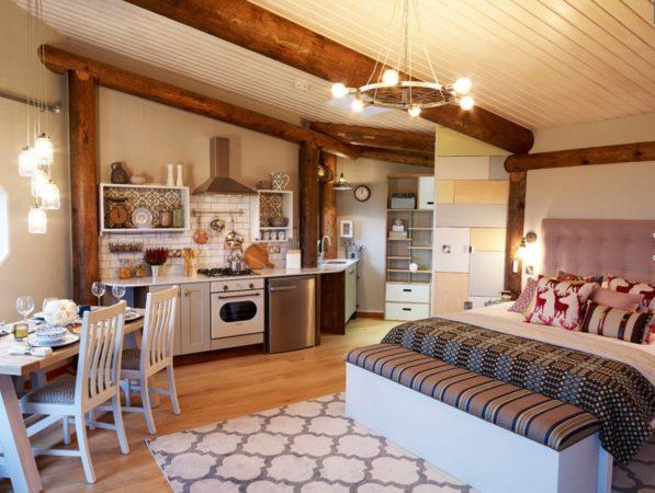 Зонирование спальни-кухни