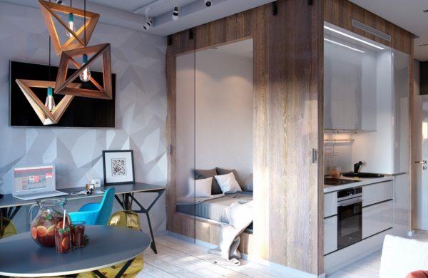 Дизайн кухни, совмещённой со спальным местом