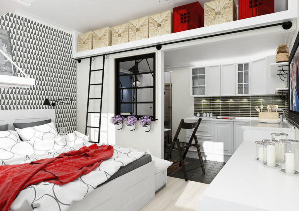 Практичный интерьер кухни-спальни