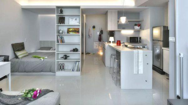 Серый интерьер кухни-спальни