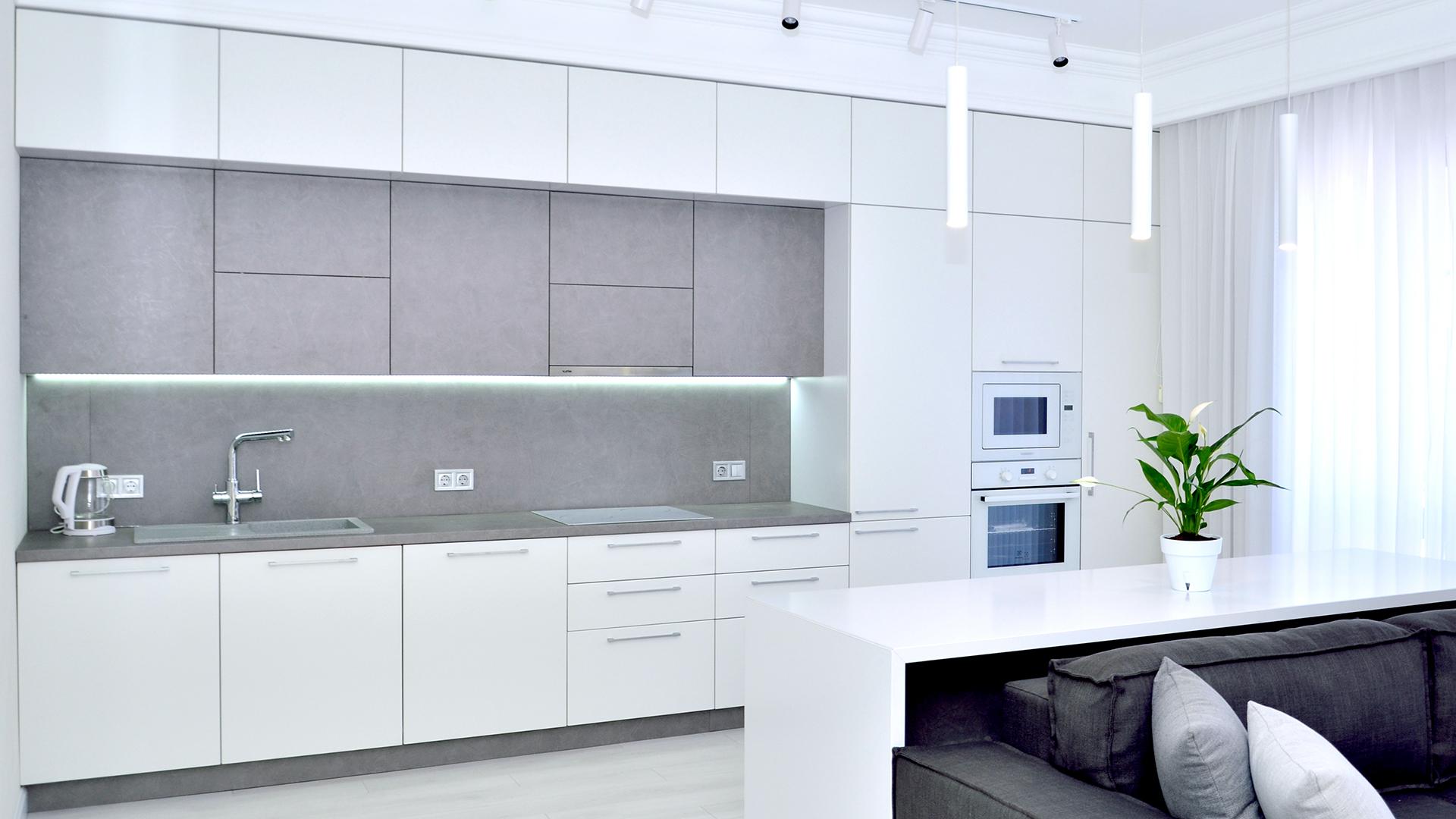 дизайн кухонного гарнитура белый глянец фото непроходимой тайги