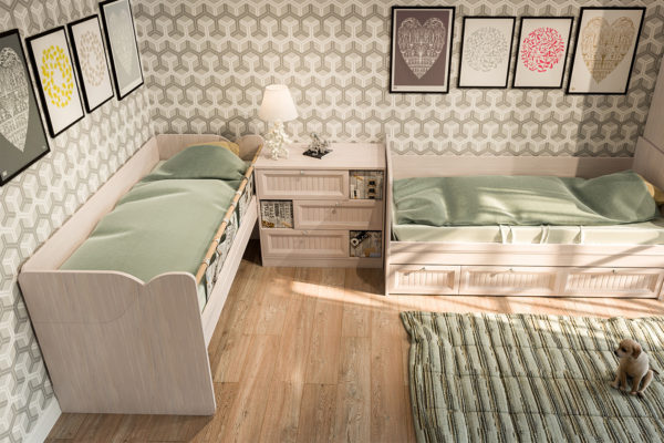 Кровати, расставленные углом