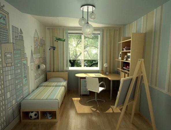 Комната для мальчика в светлых тонах