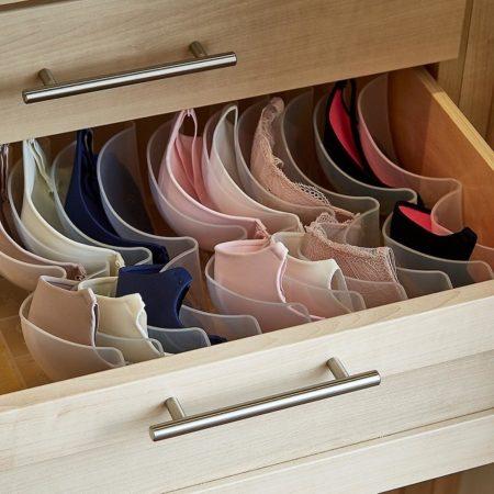 Хранение бюстгальтеров в органайзере для нижнего белья