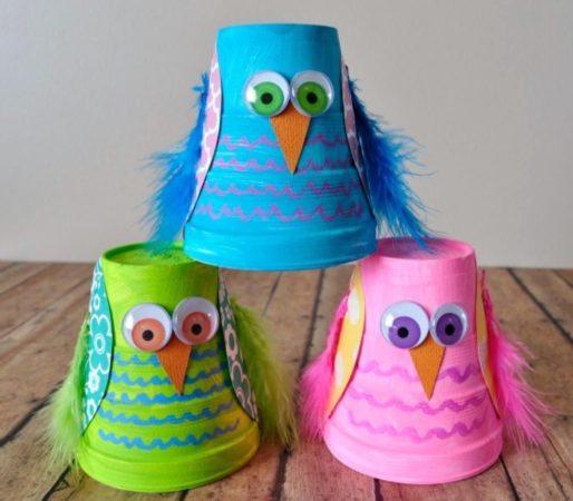 Птицы из бумажных стаканчиков