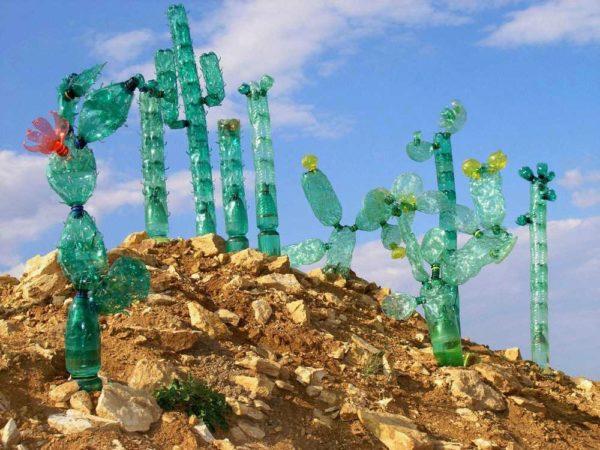 Уличные кактусы из пластиковых бутылок
