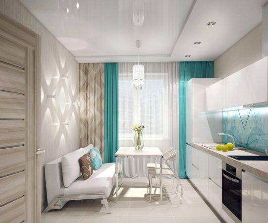 Белая кухня с цветными занавесками
