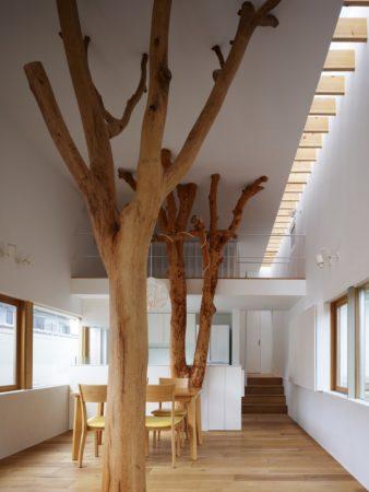 Большие деревья в интерьере загородного дома