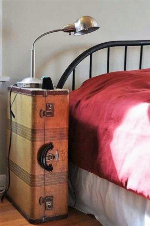 чемодан в роли прикроватной тумбочки