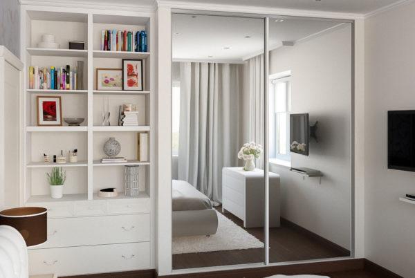 Встроенный шкаф в маленькой спальне