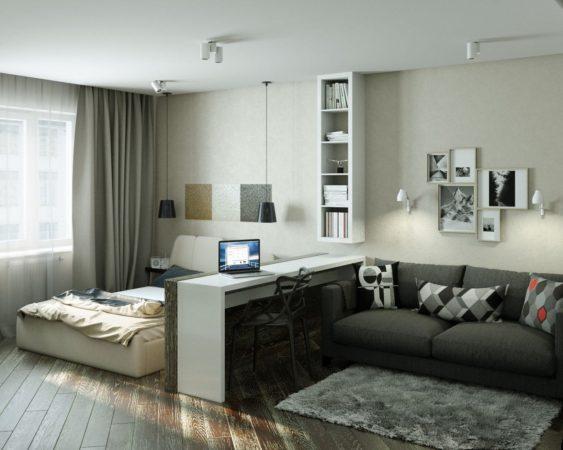 однокомнатная квартира с кроватью и диваном дизайн