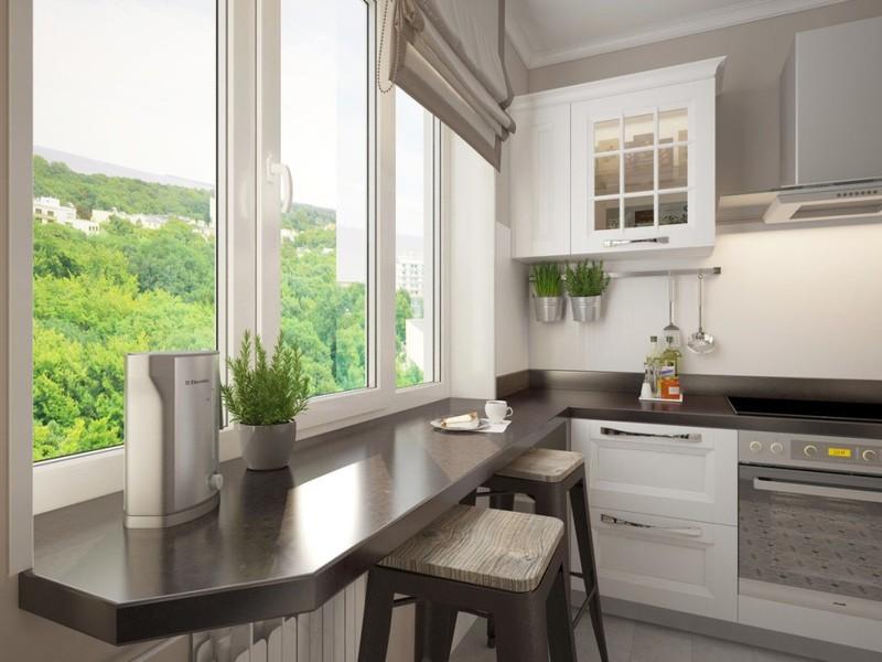 15 идей оформления подоконника на кухне столешницей