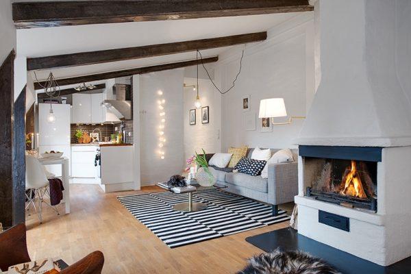 Квартира-студия с камином